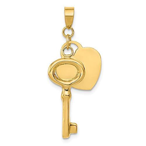 14K Gold flach Herz mit Puff rund Schlüssel Anhänger (Gold-flache Creolen)
