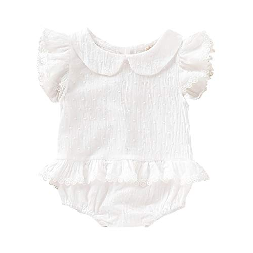 Knowin-baby body Sommer Baby Flying Sleeve Doll Kragen Lace Rüschen Volltonfarbe Folding Dress Neugeborenes Kinder Baby Jungen Kurzarm T-Shirt - Spitze Rüschen Baby Doll