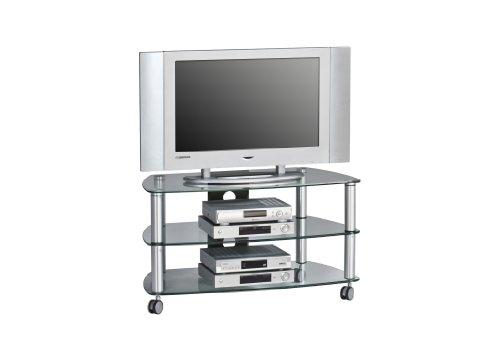 Hoher Tv-wagen (MAJA-Möbel 1610 9499 TV-Rack, Metall Alu - Klarglas, Abmessungen BxHxT: 95 x 52,8 x 51,4 cm)