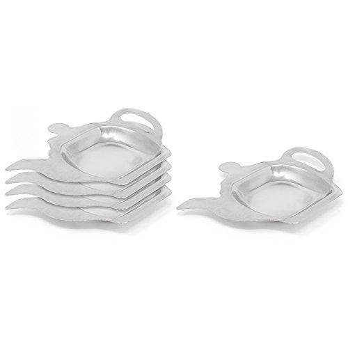 COM-FOUR® 5x Teebeutelablage aus Metall, Teebeutelhalter in Teekannen-Optik, ideal zum Servieren, 13 x 9,5 x 1,1 cm (05 Stück)