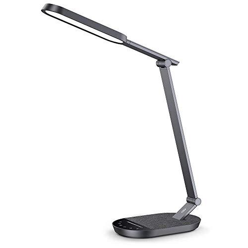 TaoTronics LED-Schreibtischlampe, Augenfreundlich, Schreibtischlampe mit USB-Port 5 V/2 A, Modus 5 Farben, Helligkeit verstellbar, Touch-Steuerung, Timer, Nachtlicht
