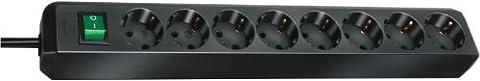 Brennenstuhl Eco-Line, Steckdosenleiste 8-fach, (mit Schalter und 3m Kabel - besonders stromsparend) Farbe: schwarz