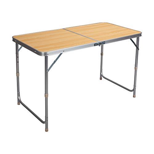 WOLTU Campingtisch Klapptisch Gartentisch Arbeitstisch Balkontisch höhenverstellbar Aluminium MDF Hell Eiche CPT8122hei