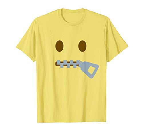 Mund Kostüm Reißverschluss - Reißverschluss Mund Stille Emoji Halloween Gruppe Kostüm T-Shirt