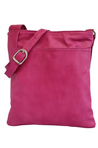 AMBRA Moda Italienische Ledertasche Schultertasche Crossover Umhängetasche Nappaleder Damen Kleine Tasche NL611 (Fuchsia) -