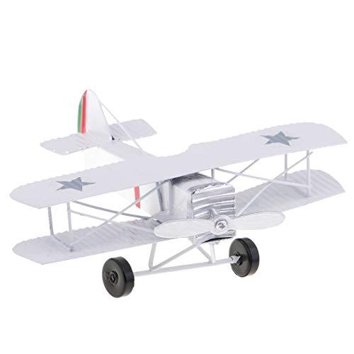 Homyl Mini Doppeldecker Spielzeug Vintage Flugzeug Modell Flugzeug Spielzeug - Weiß (Spielzeug Flugzeuge Vintage)