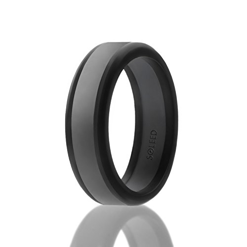 SOLEED Power X Series Silikon-Hochzeitsring, sicher und stabil, Black with Grey Line, 13 (22.2mm)