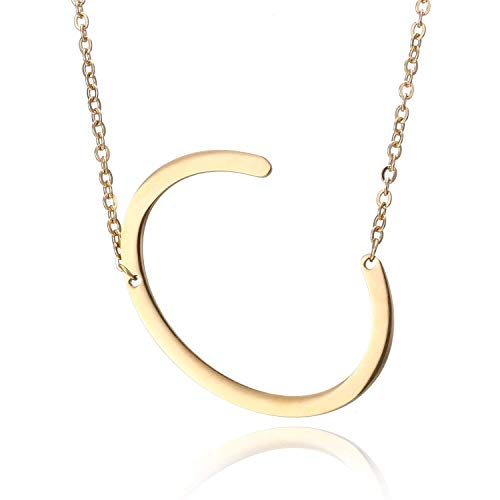 thumbgeek Seitlich große erste Halskette Gold großer Buchstabe Skript Name Edelstahl Anhänger Monogramm Halskette für Frauen Geschenk (von Alphabet 26 A-Z)