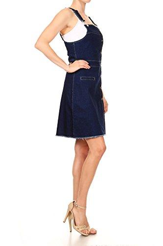 Anna-Kaci da donna con bottoni frontali denim cinghia regolabile complessiva vestito Blue