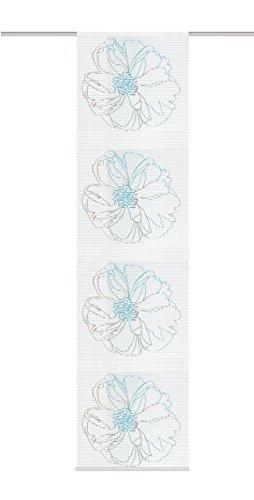 Home Fashion 87379–728–H: 245x B: 60cm Panel japonés, Voile de Rayas horizontales, Color Azul