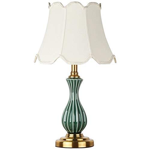 XUE Dekorative Tischlampe, kreative Keramik E27 Dekorative Schlafzimmer Licht, Stoff Lampenschirm Nachtschreibtischlampe Schlafzimmer Wohnzimmer Nachttischlampe - 120v 36 Led-glühbirne