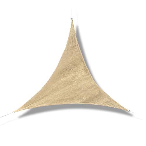 GE-UZ Toldo Vela Triangular | 3,6x3,6x3,6 | Toldo Vela De Sombra | Protección De Rayos UV | Toldos para jardín, Piscina y Terraza | Todo Incluido | Color Arena | Tela Para Exteriores