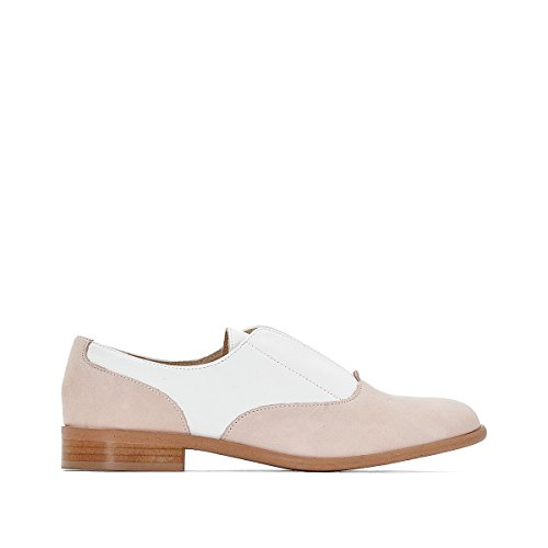 La Redoute Collections Donna Derby in Pelle Bianco + Rosa