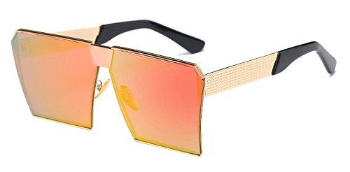 Hykis - Metal Sonnenbrille super gro?er Rahmen 15 Farben Vintage-Sonnenbrillen Frauen Sunnies Shades oculos de sol Feminino [Gold Orange Rot]