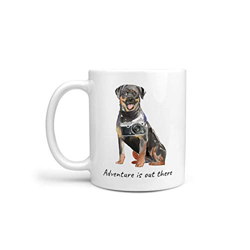 Rottweiler Travel Mug (Adventure is Out There Rottweiler Dog Mug Cute Illustrated Travel Coffee Mug Funny Gift for Dog Lovers Personalize Dog Name Free)