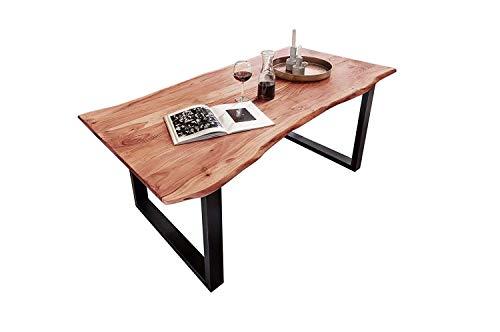 SAM Baumkantentisch Quarto, Akazien-Holz massiv, Esszimmertisch mit schwarzen Metallbeinen, 140 x 80 cm