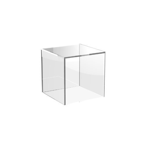 Acrylic Cube Display Stand Square 5 Sided Box Perspex Tray Retail Shop Holder (100mm x 100mm x 100mm, Clear)