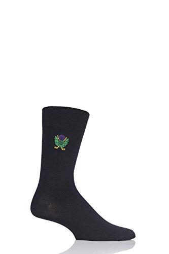 Herren 1 Paar SockShop stickte Sport-Motiv Cotton Modal Socken Thistle Schwarz 7-11 Herren