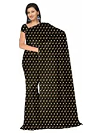 Onlinehub Women's Georgette Printed Saree With Blouse Piece - ONLINHUBBLACKDIYAFOIL- D_Black And Beige_Free Size
