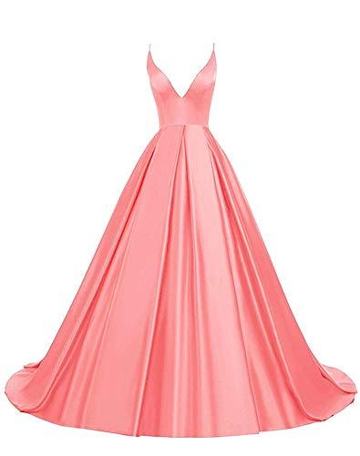 Rosae Satin Abendkleid Lange V-Ausschnitt Satin Hochzeitskleid Mädchen Prom Kleider DE 46 Koralle