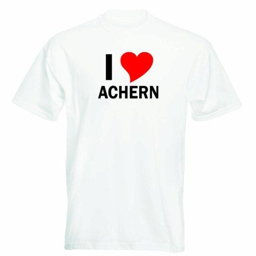 T-Shirt mit Städtenamen - i Love Achern - Herren - unisex Weiß