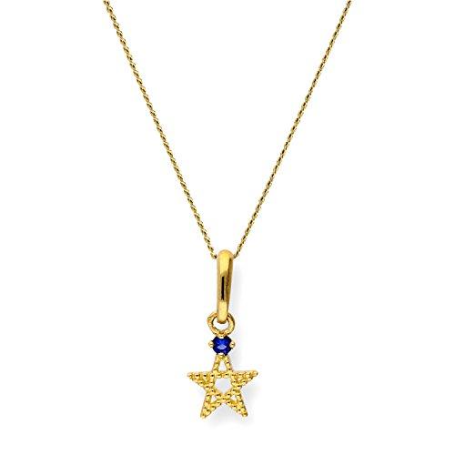 9K (375) Gold & Saphir CZ Kristall Pentagramm Stern Anhänger an 50,8 cm (20 Inches) Kette