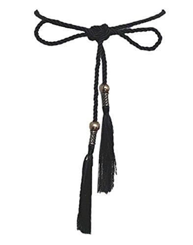 Unbekannt Damen Gürtel Schlaufe Taillen Hüftgürtel Kette Accessoires Tassel Seil C-8853 (Schwarz Kugel) -
