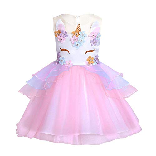FONLAM Vestido de Fiesta Princesa Niña Bebé Disfraz de Unicornio Ceremonia Cumpleaños Vestido Infantil Flores Carnaval Niña Cosplay (Rosa sin Diadema, 12-24 Meses)