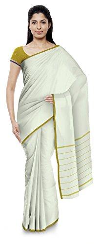 Yasin Sarees Women's Kota Doria Handloom Cotton Silk Saree With Blouse Piece (Off-White)