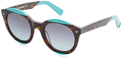 Dsquared2 round eye, occhiali da sole uomo, havana/turchese, 50