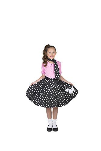 Karnival- Rock N Roller Girl Vestido, cinturón y corbata, Color rosa y negro. (83093)
