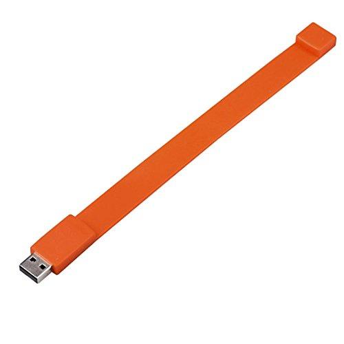 Silikon-armband Usb-flash-speicher (Silikon Armband USB2.0-Stick, Transer® Flash Drive 128GB 2GB 4GB 8GB 16GB 32GB 64GB USB 2.0Flash Drive Memory Stick Speicher Pen Digitale U Festplatten mehrfarbig Orange 16 GB)