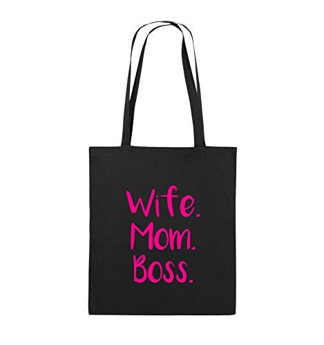 Comedy Bags - Wife Mom Boss - Jutebeutel - lange Henkel - 38x42cm - Farbe: Schwarz / Pink Schwarz / Pink