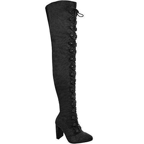Damen Overknee-Stiefel - mit Schnürung - Blockabsatz - Schwarz Veloursleder-Imitat - EUR (Stiefel Goth)