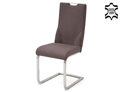 möbelando Schwingstuhl Küchenstuhl Set Esszimmerstuhl Echtleder Giulia IX (2-er Set) Braun