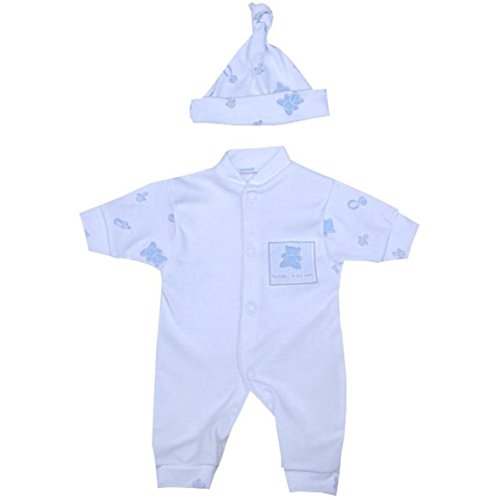 BabyPrem Premature Baby Boys Clothes Set Romper & Hat 1.5-7.5lb BLUE TEDDY P1