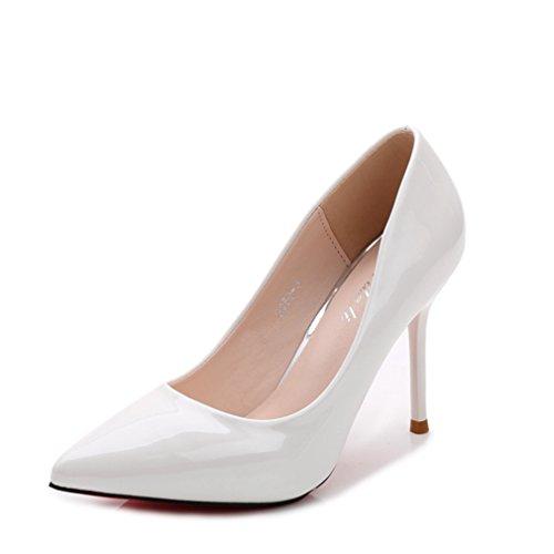 Damen Pumps Slip on Spitz Zehen Spiegelleder High-Heels Rutschhemmend Einfach Klassisch Elegant Hochzeit Abend Party Stiletto Weiß