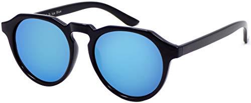 La Optica B.L.M. UV400 CAT 3 Unisex Damen Herren Sonnenbrille Rund Round - Einzelpack Glänzend Schwarz (Gläser: Hellblau verspiegelt)