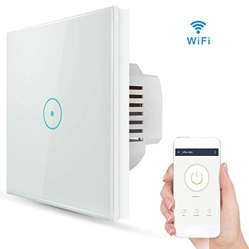 Smart lichtschalter, Wifi Smart lichtschalter arbeitet mit Amazon Alexa, Google Home, gehärtetes Glas Touchscreen-schalter mit Timerfunktion und Überlastungsschutz [Energieklasse A++]