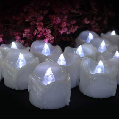 Halloween LED-Kerzen Blut Bluten Kerzenlampe Batteriebetriebene Kerzen Für Weihnachten Geburtstag Zu Hause Abendessen Hochzeit Party Dekor 12 Stück,White