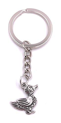 H-Customs Ente Erpel Schlüsselanhänger Anhänger Silber aus Metall