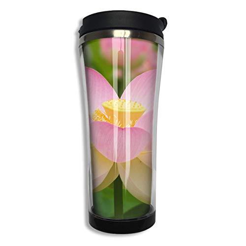 Bgejkos Beautiful Lotus White Stainless Steel Coffee Mug 14.2 Oz Travel Mug Leakproof Insulated 16 Oz Sip-top