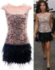 Robe rose dentelle Tamania vraie plume de robe de bandage de mode de dames de soirée (M)