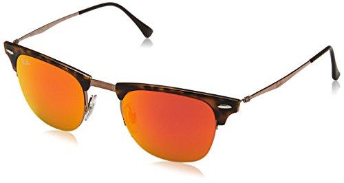 Ray-Ban Unisex Clubmaster Light Ray Sonnenbrille, Mehrfarbig (Gestell: Havana/Braun, Gläser: Rot Verspiegelt 175/6Q), Medium (Herstellergröße: 49)