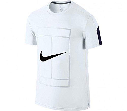 Nike Court GFX Crew-Maglietta da uomo, UOMO, Court Crew Gfx, Blanco / Azul marino / Negro (WHITE/MIDNIGHT NAVY/BLACK), L