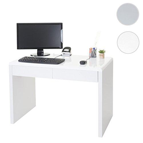Mendler Design Schreibtisch Edmonton, Bürotisch Computertisch, hochglanz 100x50cm ~ weiß