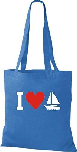 JUTA Borsa di stoffa I LOVE barca a vela, capitano, SKIPPER Blu reale