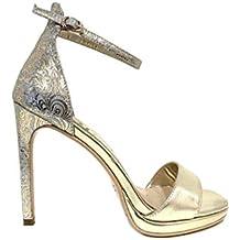 Sandalo Hollywood Oro Sandali Donna Tacco Alto Plateau Particolare Cerimonia  Elegante Scarpe Matrimonio Shoes Gold Woman fdeb80ac89f