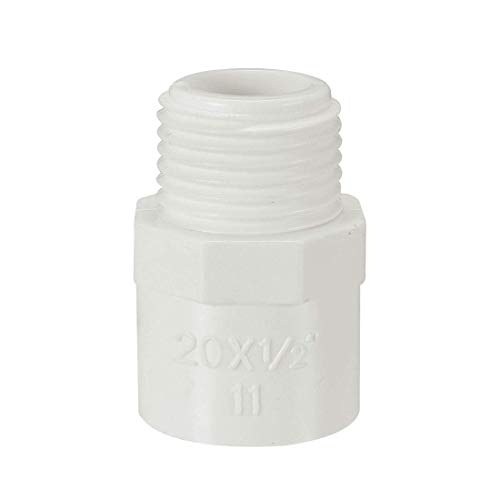 ZCHXD 20mm Slip x 1/2 PT Male Thread PVC Pipe Fitting Adapter Connector 5 Pcs -