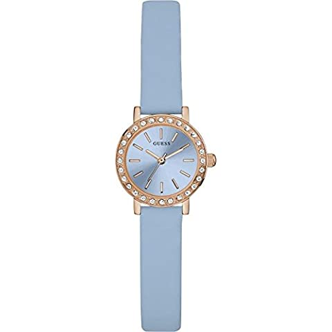 Guess Reloj analógico para mujer Quartz Piel Azul w0885l6